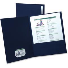 "Oxford Executive Twin Pocket Portfolios - Letter - 8 1/2"" x 11"" Sheet Size - 2 Internal Pocket(s) - Linen - Navy Blue - 5 / Pack"