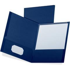 "Oxford Linen Twin Pocket Portfolio - Letter - 8 1/2"" x 11"" Sheet Size - 100 Sheet Capacity - 2 Pocket(s) - Blue - 25 / Box"