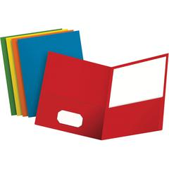 "Oxford Twin Pocket Letter-size Folders - Letter - 8 1/2"" x 11"" Sheet Size - 100 Sheet Capacity - 2 Internal Pocket(s) - Leatherette Paper - Blue, Green, Yellow, Orange, Red - 25 / Box"