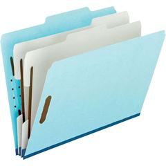 "Pendaflex Pressboard Partition Folder - Letter - 8 1/2"" x 11"" Sheet Size - 1"" Expansion - 2 Fastener(s) - 2 Divider(s) - 25 pt. Folder Thickness - Pressboard - Blue, Gray - 10 / Box"