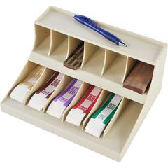 """MMF Combo Coin Wrapper/Bill Strap Rack - 12 Compartment(s) - 5.4"""" Height x 10.6"""" Width x 8.3"""" Depth - Desktop - Putty - Plastic - 1Each"""
