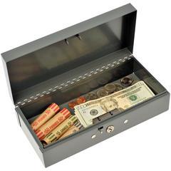 """MMF Cash Bond Box w/o Tray - 5 Bill - Steel - Charcoal Gray - 2.9"""" Height x 10.3"""" Width x 4.4"""" Depth"""