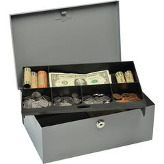 "MMF Cash Box with Security Lock - Steel - Gray - 4.4"" Height x 11.3"" Width x 7.5"" Depth"