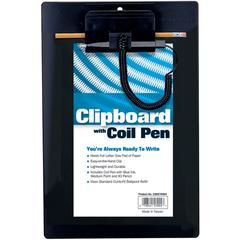 "MMF Clipboard w/ Coil Pen - 8.50"" x 11"" - Low-profile - Plastic - Black"