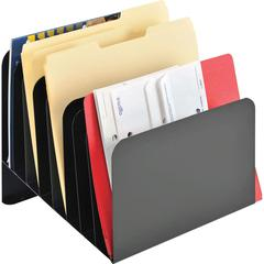 "MMF Steel Slanted Vertical Organizers - 8 Compartment(s) - 10"" Height x 11"" Width x 10"" Depth - Desktop - Recycled - Black - Steel - 1Each"