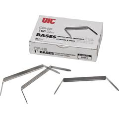 "OIC Prong Fastener Bases - Standard - 1"" Size Capacity - 100 / Box - Silver - Steel"