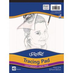 "Art1st Tracing Pad - 40 Sheets - Plain - Unruled - 9"" x 12"" - Transparent Paper - Bleed-free - 40 / Pad"