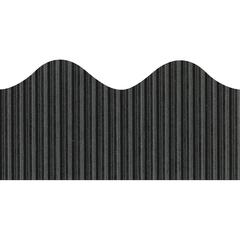 "Pacon Bordette Scalloped Decorative Border - Rectangle with Scalloped Trim - Pin-up - Fadeless - 2.25"" Width x 600"" Length - Black - Paper - 1 / Roll"