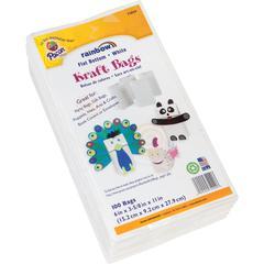 "Pacon Rainbow Bright Craft Bags - 6"" Width x 11"" Length - 6"" Gusset - White - Kraft Paper - 100/Pack - Multipurpose"
