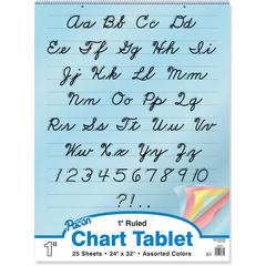 "Pacon Cursive Cover Colored Paper Chart Tablet - 25 Sheets - 1"" Front Line(s) Space 24"" x 32""24""32"" - Assorted Paper - Recycled - 25 / Chart"