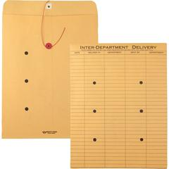 "Quality Park Standard Style Inter-Department Envelope - Interoffice - 10"" Width x 13"" Length - 28 lb - String/Button - Kraft - 100 / Box - Kraft"