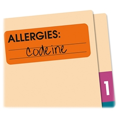 "Redi-Tag Allergies Medi-Label - Removable Adhesive - 2.50"" Width x 1"" Length - 500/Roll - Rectangle - Red - Paper - 500 / Roll"
