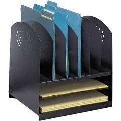 "Safco 2 Horiz/6 Upright Combination Desk Rack - 8 Compartment(s) - 12.8"" Height x 12.3"" Width x 11.3"" Depth - Desktop - Black - Steel - 1Each"