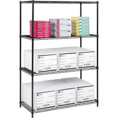 "Safco Industrial Wire Shelving - 48"" x 24"" x 72"" - 4 x Shelf(ves) - 3200 lb Load Capacity - Adjustable Glide, Durable - Black - Powder Coated - Steel - Assembly Required"