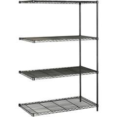 "Safco Industrial Wire Shelving Add-On Unit - 48"" x 24"" x 72"" - 4 x Shelf(ves) - 3200 lb Load Capacity - Adjustable Glide, Durable - Black - Powder Coated - Steel - Assembly Required"