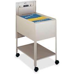 """Safco Extra Deep Mobile Tub File - 300 lb Capacity - 4 Casters - 2"""" Caster Size - Steel - 16.5"""" Width x 24.8"""" Depth x 28.3"""" Height - Putty"""