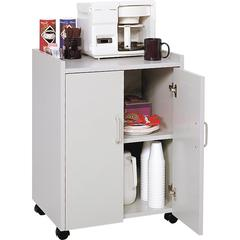 "Safco Mobile Refreshment Utility Cart - 200 lb Capacity - 4 Casters - 2"" Caster Size - Wood - 18"" Width x 23"" Depth x 31"" Height - Gray"
