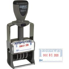 "Xstamper Heavy-duty RECEIVED Self-Ink Dater - Message/Date Stamp - ""RECEIVED"" - Red, Blue - Metal, Plastic Handle - 1 Each"