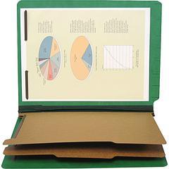 "SJ Paper 6-part 2-1/4"" Exp Classification Folders - Letter - 8 1/2"" x 11"" Sheet Size - 2 1/4"" Expansion - 2"" Fastener Capacity for Folder - 25 pt. Folder Thickness - Pressboard - Emerald Green - Recyc"
