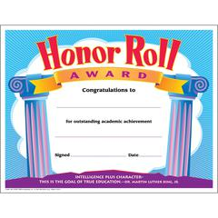 """Trend Honor Roll Award Certificate - 8.50"""" x 11"""" - Assorted30 / Pack"""