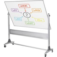 "Balt Magnetic Porcelain Rotating Markerboard - 72"" (6 ft) Width x 48"" (4 ft) Height - Porcelain Surface - Aluminum Frame - Rectangle - Wall Mount - Assembly Required - 1 Each"