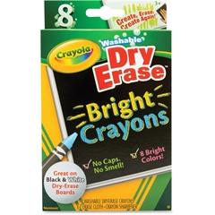 Crayola Dry Erase Crayon - Bright Assorted - 8 / Box
