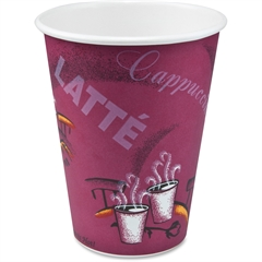 Solo Bistro Disposable Paper Cups - 12 fl oz - 50 / Pack - Maroon - Poly Paper - Hot Drink, Beverage, Cold Drink