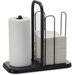 "BreakCentral Napkin/Towel Holder - 15.8"" x 16"" x 8"" - Metal - 1 Each - Black"
