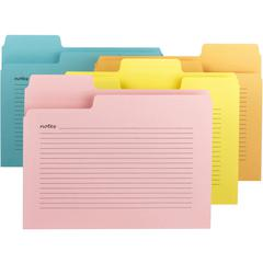 "Smead SuperTab® Notes File Folder - Letter - 8 1/2"" x 11"" Sheet Size - 1/3 Tab Cut - Assorted Position Tab Location - 11 pt. Folder Thickness - Aqua, Goldenrod, Pink, Yellow - Recycled - 12 / Pack"
