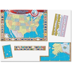 """Teacher Created Resources US Map Bulletin Board Display - United States - 36"""" Width x 24"""" Height"""