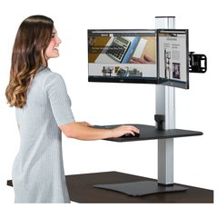"Victor High Rise Electric Dual Monitor Standing Desk Workstation - Supports Two 25"" Wide Monitors - 12.5 lbs Each Load Capacity - 0"" to 20"" Height x 28"" Width x 23"" Depth - One-Touch Electric, Standin"