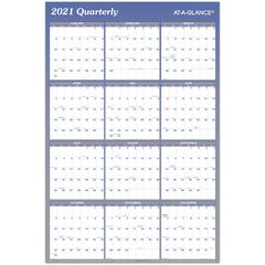 """At-A-Glance Erasable/Reversible Yearly Wall Planner - Monthly, Quarterly - 1 Year - January 2020 till December 2020 - 36"""" x 24"""" - Wall Mountable - Blue - Erasable, Reversible, Write on/Wipe off"""
