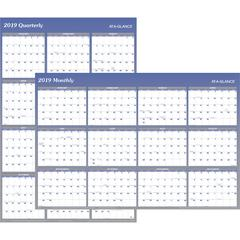 """At-A-Glance Erasable/Reversible Yearly Wall Planner - Monthly, Quarterly - 1 Year - January 2020 till December 2020 - 48"""" x 32"""" - Blue - Erasable, Reversible, Write on/Wipe off"""