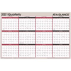 """At-A-Glance Erasable/Reversible Yearly Wall Planner - Yes - Quarterly - 1 Year - January 2020 till December 2020 - 24"""" x 36"""" - Wall Mountable - Gray - Erasable, Laminated, Reversible, Write on/Wipe of"""