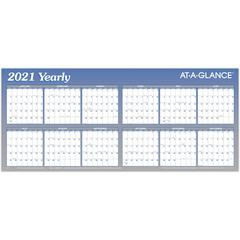 """At-A-Glance Large Erasable/Reversible Horizontal Yearly Wall Planner - Yearly - 1 Year - January 2020 till December 2020 - 60"""" x 26"""" - Wall Mountable - Blue - Erasable, Reversible, Laminated, Write on"""
