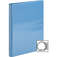"Sparco Premium Round Ring View Binders - 1/2"" Binder Capacity - Letter - 8 1/2"" x 11"" Sheet Size - 3 x Round Ring Fastener(s) - 2 Internal Pocket(s) - Polypropylene - Light Blue - 1 Each"