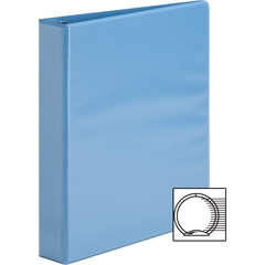 "Sparco Premium Round Ring View Binders - 1 1/2"" Binder Capacity - Letter - 8 1/2"" x 11"" Sheet Size - 3 x Round Ring Fastener(s) - 2 Internal Pocket(s) - Polypropylene - Light Blue - 1 Each"