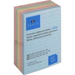 "Sparco Assorted Pastels Ruled Adhesive Notes - 100 - 4"" x 6"" - Rectangle - Ruled - Assorted Pastel - Repositionable, Self-adhesive, Solvent-free Adhesive - 5 / Pack"