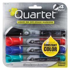 Quartet® EnduraGlide® Dry-Erase Markers, Bullet Tip, Assorted Colors, 4 Pack - Bullet Point Style - Red, Green, Black, Blue - 4 / Set