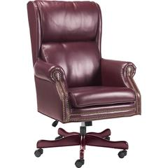 "Lorell Traditional Executive Swivel Tilt Chair - Vinyl Oxblood Seat - Hardwood Mahogany Frame - 5-star Base - Wood - 29"" Width x 32"" Depth x 47"" Height"