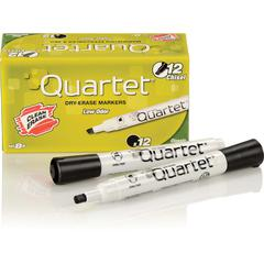 Quartet® Low Odor Dry-Erase Marker, Chisel Tip, DryGuard Ink, Black, 12 Pack - Chisel Point Style - Black - 1 Dozen
