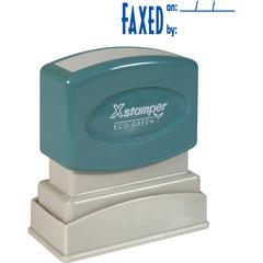 """Xstamper Pre-Inked FAXED Title Stamp - Message Stamp - """"FAXED BY"""" - 0.50"""" Impression Width x 1.63"""" Impression Length - 100000 Impression(s) - Blue - Recycled - 1 Each"""