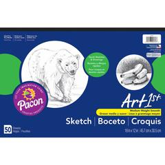 "Art1st Medium Weight Sketch Pads - 50 Sheets - 18"" x 12"" - White Paper - Mediumweight, Acid-free - Recycled - 50 / Pad"