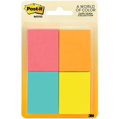 """Post-it Notes, 1.5 in x 2 in, Cape Town Color Collection - 200 - 1.50"""" x 2"""" - Rectangle - 50 Sheets per Pad - Unruled - Fluorescent, Yellow, Pink, Red - Paper - 4 Pad"""