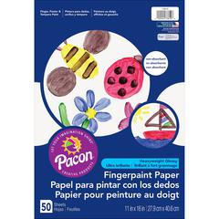 "Pacon Fingerpaint Paper - 50 Sheets - 11"" x 16"" - White Paper - Non Absorbant, Bleed Resistant, Smear Resistant - 1 / Pack"