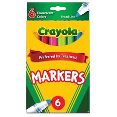 Crayola Classic Broad Line Fluorescent Markers - Conical Point Style - Dark Green, Fluorescent Yellow, Pink, Flaming Orange, Electric Blue, Hot Pink Water Based Ink - 6 / Pack
