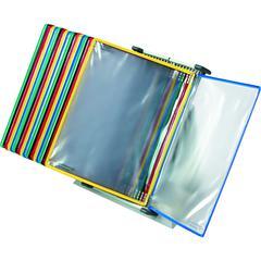 "Tarifold Color-coded 20-Pocket Desktop Starter Set - Desktop, Countertop - 20 Panels - Support Letter 8.50"" x 11"" Media - Pivot, Expandable, Wire-reinforced - Assorted Pocket - Metal Stand, Polyvinyl"