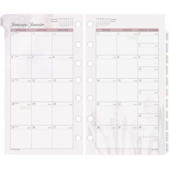 "Day Runner Nature Design Monthly Planner Refill - Julian - Monthly - 1 Year - January 2017 till December 2017 - 1 Month Double Page Layout - 3.75"" x 6.75"" - 7-ring - White - Tabbed"