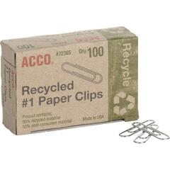 ACCO® Recycled Paper Clips, Smooth Finish, #1 Size, 100/Box - No. 1 - 10 Sheet Capacity - Durable, Reusable - 100 / Box - Silver - Metal