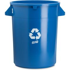 Heavy-duty Trash Container - 32 gal Capacity - Plastic - Blue